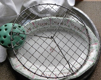 """Antique French Bakery Rare Style Fine 10"""" Larger Size Wire Worked Round Cooling Cake Patisserie, Icing Rack, Wrapped Crimped Wavy Wire"""