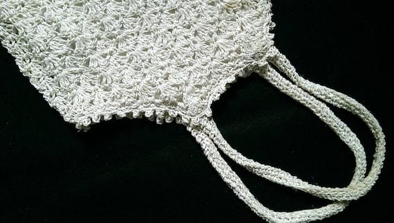 Vintage 90's Crochet Paper & Silver Metallic Tote