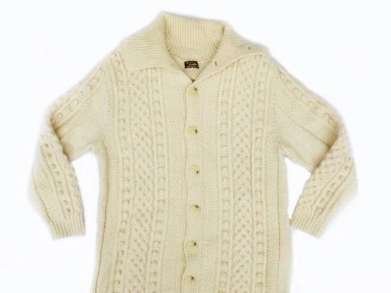 Vintage Mens German Fisherman Coat Sweater -Large