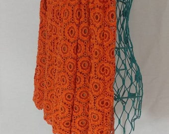 e77e2abaa0 Vintage Moulinette Soeurs Skirt / True Orange / Crochet Style / Sheer  Lining / Pleated and Flared / Anthropologie / Size 6 / Made in India