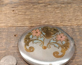 Lovely Vintage Round Art Nouveau Face Powder Compact / Zell Fifth Avenue / Heart and Flowers / Silvertone with Gold, Pink, and Blue Accents
