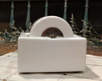 Vintage Sengbusch Self-Closing Inkstand Co. / Porcelain / Ceramic / 1940s /  Postal Stamp Ideal Moistener / Wheel / Made in USA / Milwaukee