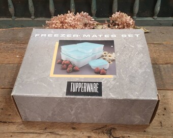 Vintage Tupperware Freezer Mates Set / New Old Stock / Original Box / Complete / Blue and Clear / Six Containers with Lids / Various Sizes