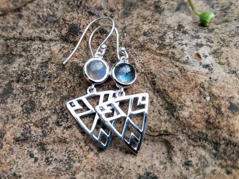 Sterling Silver Labradorite Triangle Tribal Hippie Bohemian Dangle Drop Earrings with Gemstone