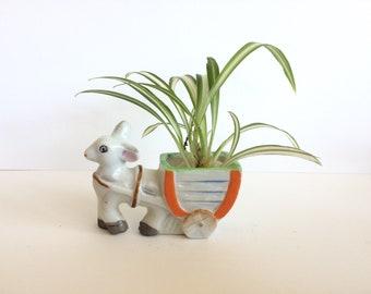 Vintage ceramic horse and wagon tiny planter
