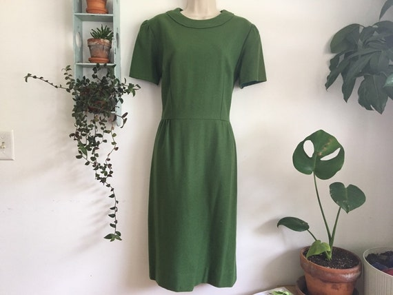 50's/60's emerald green wool dress large