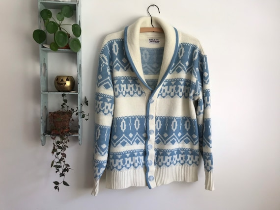 Vintage large cardigan acrylic shawl collar