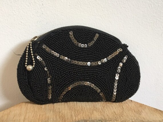 vtg 1930's beaded coun purse talon zipper