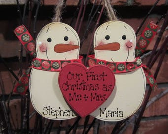 Mr. and Mrs. Personalized Snowmen Couple Ornament - Our First Christmas as Mr. & Mrs., Personalized Mr and Mrs, Wedding Personalized, Gift