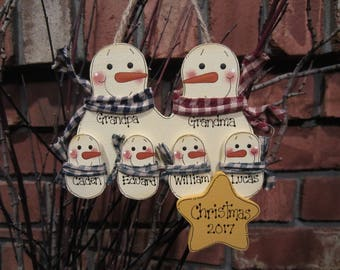 Personalized Christmas Ornament, Family of 6: Personalized Snowman Ornament, Snowmen Ornament, Snowman Family Ornament, personalized pet