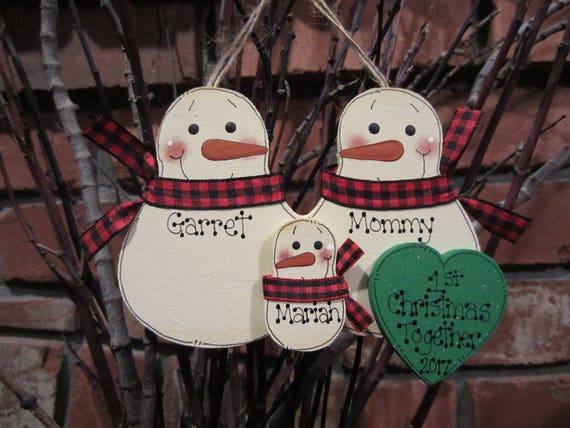 Family of 3 Personalized Snowman Family Ornament