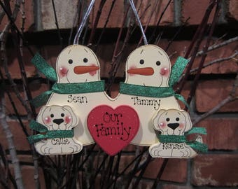 4 Family Members:  Personalized Snowman & Pet Ornament, family ornament, family of 4 ornament, family with pets personalized ornament
