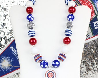 Chicago Cubs Necklace Girls Necklace, Toddler Necklace, Womens Necklace, Chicago Cubs