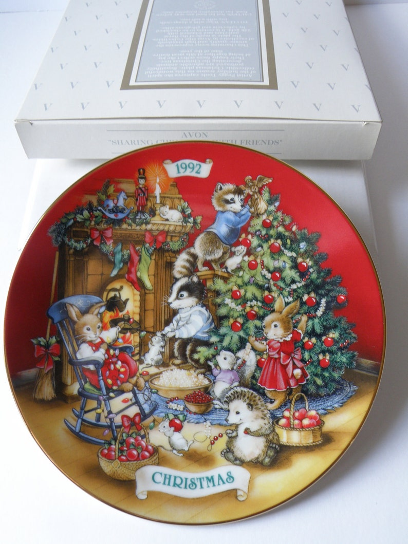 Free Shipping Porcelain Sharing Christmas with Friends Avon Christmas Collector Plate-1992 with box