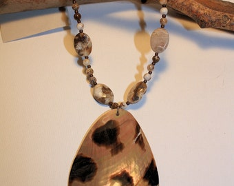 Abalone Shell Pendant on Jasper