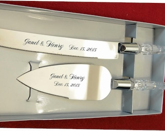 Personalized  Wedding Cake Knife and Server with Names and Date FREE