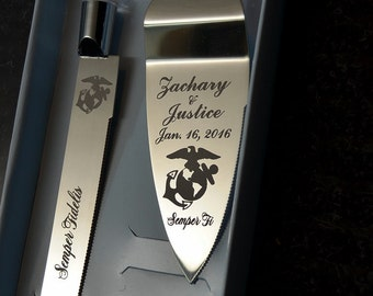 Marine  Wedding Cake Knife and Server with Names and Date FREE
