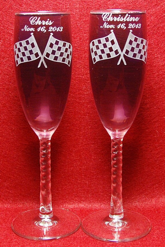2 Personalized Engraved Checker Flag  Toasting Champagne Wedding Flutes glasses
