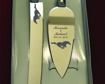 Mustang  Wedding Cake Knife and Server with Names and Date FREE