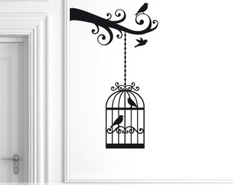 Birdcage on Branch Wall Decal, Bird Cage Wall Decal, Vinyl Wall Sticker