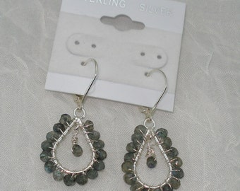 Handmade Wire Wrapped Labradorite and Sterling Dangle Earrings