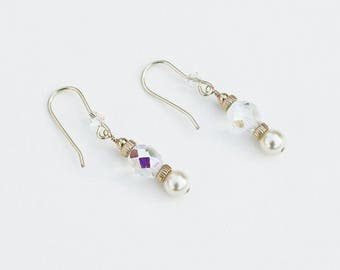 Tiny Pearl and Crystal Earrings