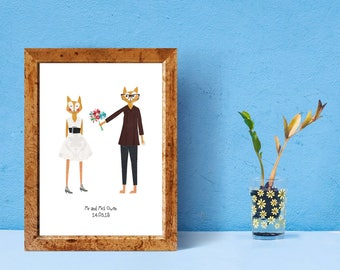 Personalised Wedding Date A4 Fox Print