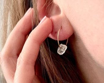 Raw Clear Quartz Crystal Earrings, 14K Gold Filled Crystal Hoop Earrings, Bridal Jewellery, Statement Gold Earrings, Gemstone Jewellery
