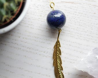 Genuine Lapis Lazuli Crystal Necklace Sphere Cut with Gold Feather Charm and 18K Gold Plated Chain