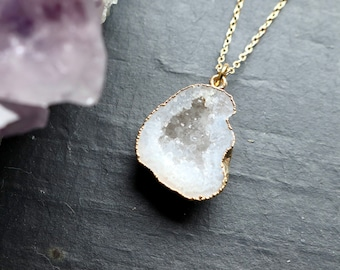 SECONDS SALE Clear Quartz Raw Geode Druzy Cave Crystal Necklace with 18K Gold Plating, Gold Crystal Necklace, Mini Geode Cave