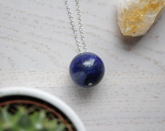 Genuine Lapis Lazuli Crystal Necklace Sphere Cut with 925 Silver Plated Chain