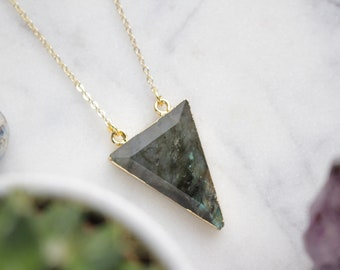 Genuine Labradorite Crystal Necklace Triangle Cut with 18K Gold Plated Chain