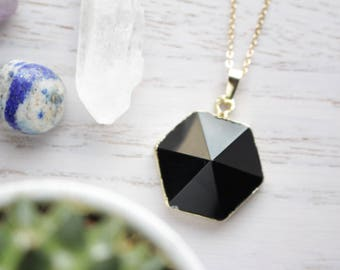 Genuine Black Agate Crystal Necklace Hexagon Cut with 18K Gold Plated Chain