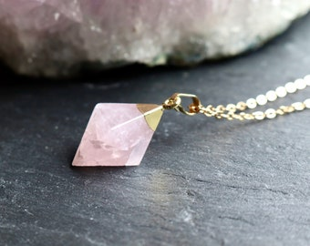 Rose Quartz Crystal Diamond Pointed Necklace 18K Gold Plated Chain, Genuine Crystal, Layering Jewellery, Minimalist Jewellery, Love Gift