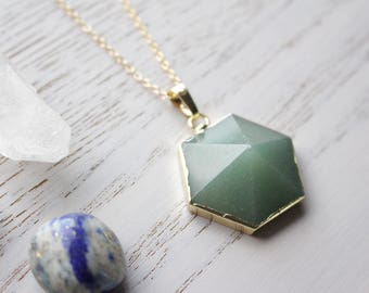 Genuine Aventurine Crystal Necklace Hexagon Cut with 18K Gold Plated Chain