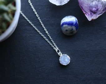 Genuine Petite Clear Quartz Raw Geode Druzy Crystal Necklace with 925 Silver Plated Chain