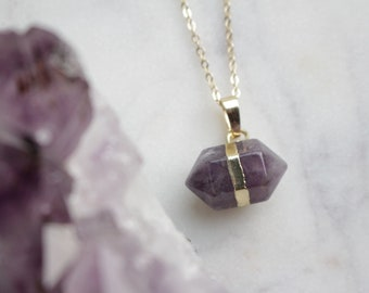 Genuine Amethyst Crystal Hexagonal Pointed Nugget Necklace with 18K Gold Plated Chain - February Birthstone