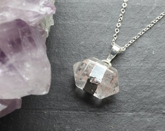 Clear Quartz Crystal Necklace, Double Terminated Crystal, Double Point Crystal, Silver Plated, Genuine Crystal, Layering Jewellery, Minimal