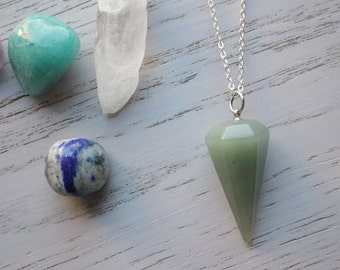 Genuine Aventurine Crystal Pendulum Necklace with 925 Silver Plated Chain