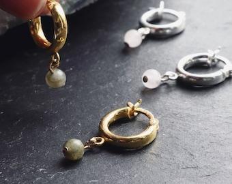 Chunky Huggie Earrings, Crystal Earrings, Thick Hoop Earrings, Hinged Earrings, Ear Cuff, Gold Vermeil, Sterling Silver, Statement Jewellery