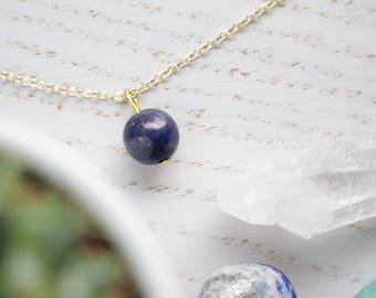 Genuine Lapis Lazuli Crystal Choker Necklace Sphere Cut with 18K Gold Plated Chain.