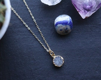 Genuine Petite Clear Quartz Raw Geode Druzy Crystal Necklace with 18K Gold Plated Chain