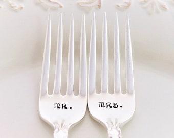 Mr. and Mrs. Forks Wedding Dinner Forks Cake Table Setting ~ Wedding Decor ~ Hand Stamped & Ready To Ship - FLIRTATION 1959