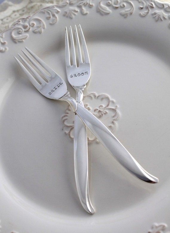 Antique Wedding Forks Cake Table Setting ~ soul mates ~ Shabby Chic Wedding Decor ~ Hand Stamped /& Ready To Ship ~ PARAGON 1900