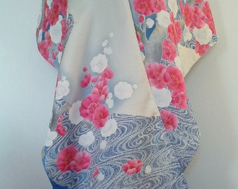 silver, blue and mauve-pink spring silk kimono Wedding wrap shawl - plum blossom, ume, swirling wave stream