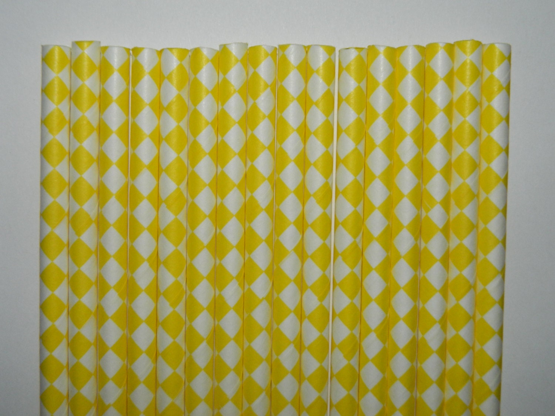 25 Yellow Diamond Checkered Paper Straws-Mickey Mouse Sesame | Etsy