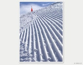 First on the slope - winter mountain landscape, skiing in Flaine, France, 5x7, 8x10, 11x14, poster