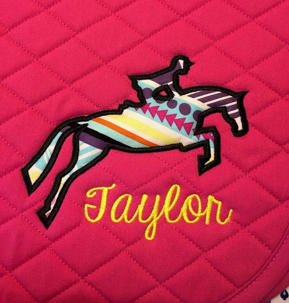 Custom English Embroidered Saddle Pad - Jumping Horse and Rider Applique  with Name All Purpose or Pony