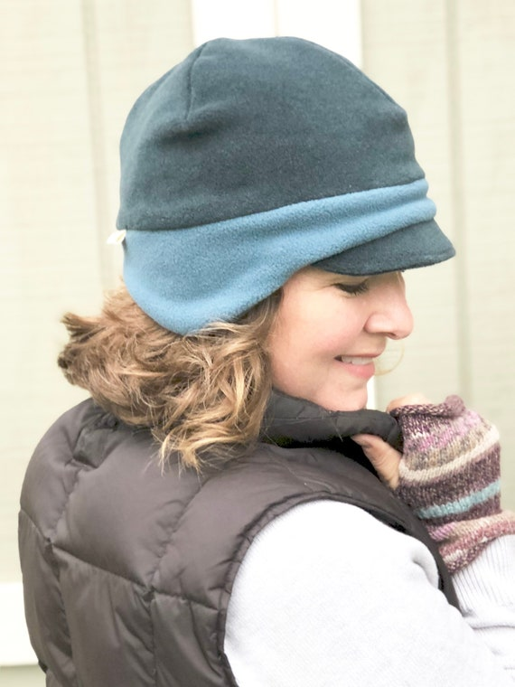 Grey Two Tone Beanie Earflap Hat Dark Grey Cap Women s  81aa4811a