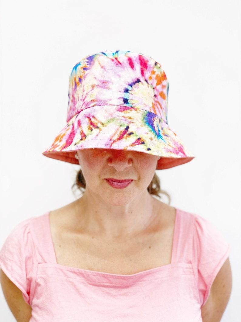Tie Dye Summer Sun Hat for Women Foldable Fabric Beach Hat image 0